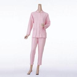 婦人楽らくパジャマ  無地タイプ マジック式(飾りボタン付) (ズホンは通常タイプ)