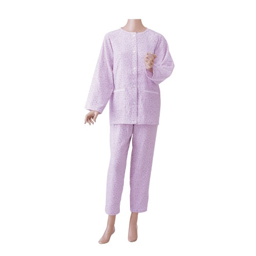 婦人楽らくガーゼパジャマ 上下セット(長袖)薄手春夏向き 前開きマジック式