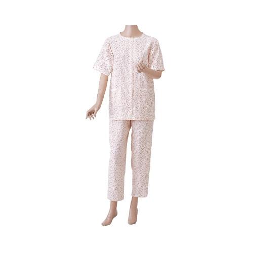 婦人楽らくガーゼパジャマ 上下セット(半袖)薄手春夏向け 前開きマジック式