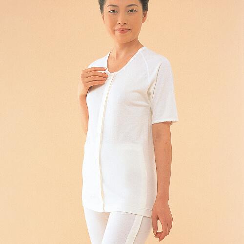 コベス・ワンタッチ肌着 前開きシャツ5分袖<婦人>マジック式 [No51]