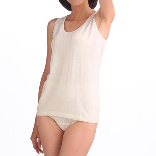 婦人ノースリーブ (つむいだシルクのやさしい肌着シルク100%)日本製
