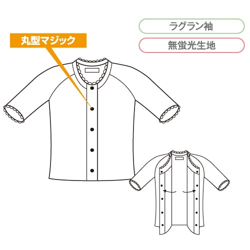 コベス・ワンタッチ肌着 前開きシャツ5分袖(Wガーゼ)<婦人>特価処分品 [GZ3]