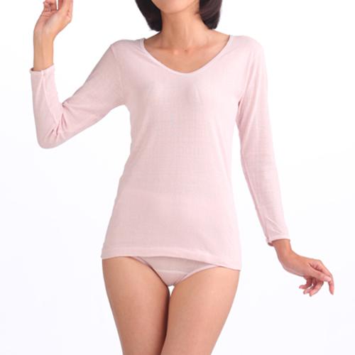 婦人7分袖スリーマー (つむいだシルクのやさしい肌着シルク100%)日本製
