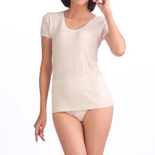 婦人3分袖スリーマー (つむいだシルクのやさしい肌着シルク100%)日本製