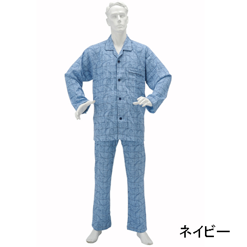 紳士らくらくパジャマ・ スムース ペーズリー柄 前開きマジック式 [No805]