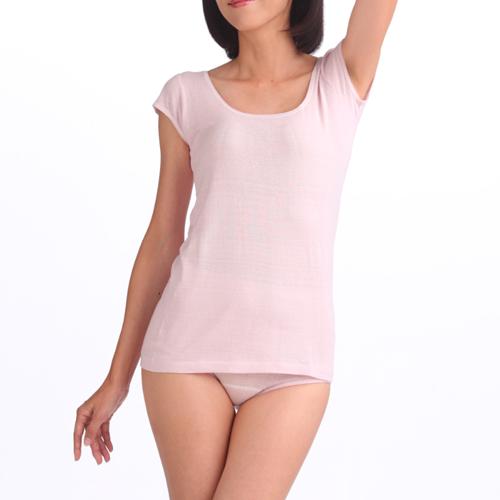 婦人1分袖スリーマー (汗取りパッド付)(つむいだシルクのやさしい肌着シルク100%)日本製
