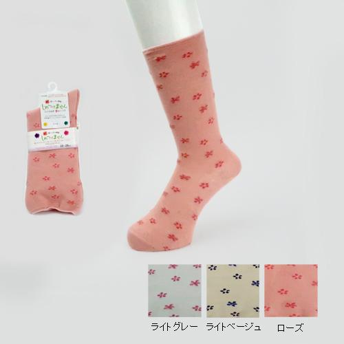 柄しめつけません綿混ソックス <婦人>テーパーデザイン 綿混 春夏用 日本製