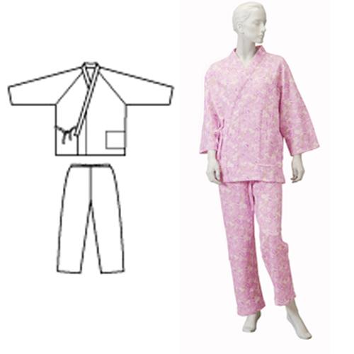 婦人パジャマ型ねまき ニットキルト 秋冬用 日本製