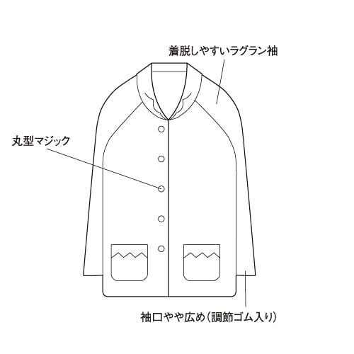 婦人楽らくパジャマ上衣単品 前開きマジック式 [No95]