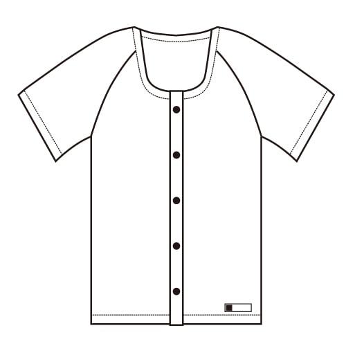 前開き半袖シャツ<共用>  ホック式 業務用10枚セット