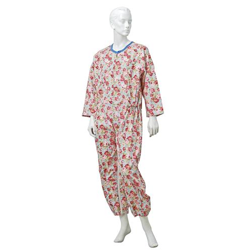 婦人つなぎパジャマ  前立部・股部オートロックファスナー付