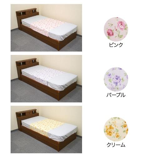 防水ソフトパイルシーツ (花柄)  日本製