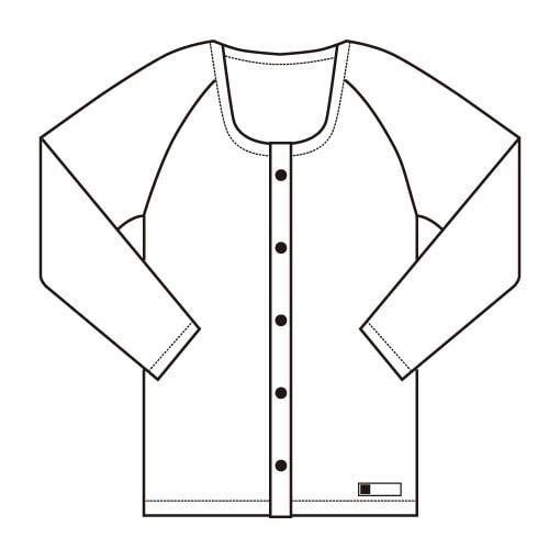 前開きシャツ長袖<共用> 大きいサイズ ホック式 日本製
