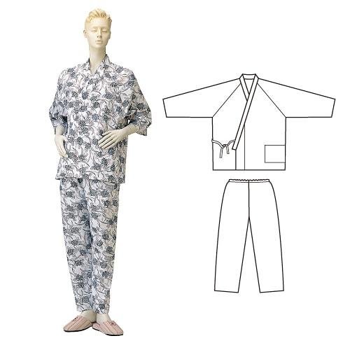 婦人パジャマ型ガーゼねまき (おくつろ着) ひば抗菌加工 乾燥機可 日本製