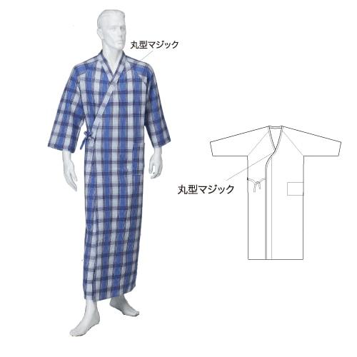 紳士ニットキルトねまき ロングタイプ マジック付 秋冬用 日本製