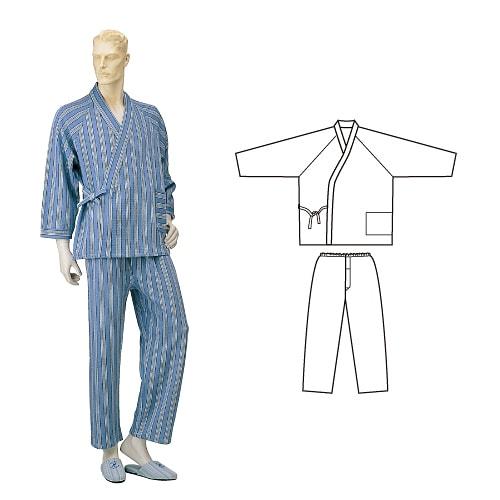 紳士パジャマ型ねまき ニットキルト 秋冬用 日本製